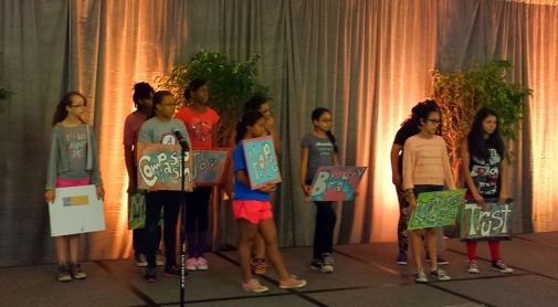 Girlstories Leadership Program participants rehearsing for the Powerstories Gift of Gala 2015